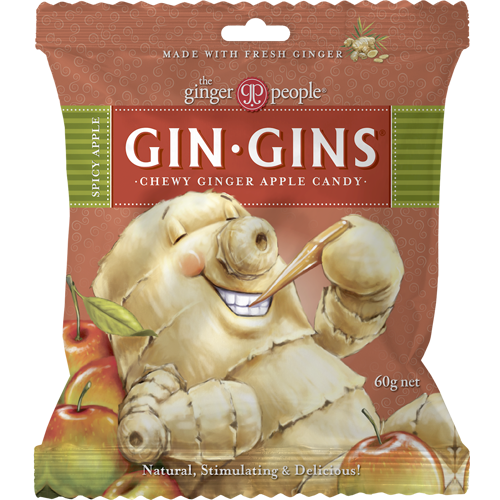 gin gins spicy apple - the ginger people - 60g bag